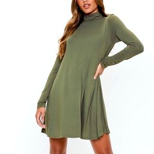 Forever21 Olive Green Mock neck Dress